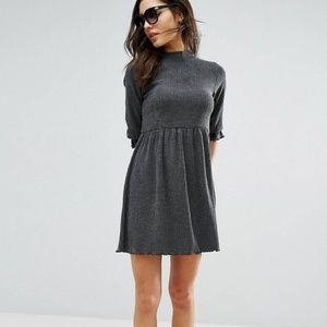 NWT Asos Smock Dress 3/4 Sleeve Dark Grey